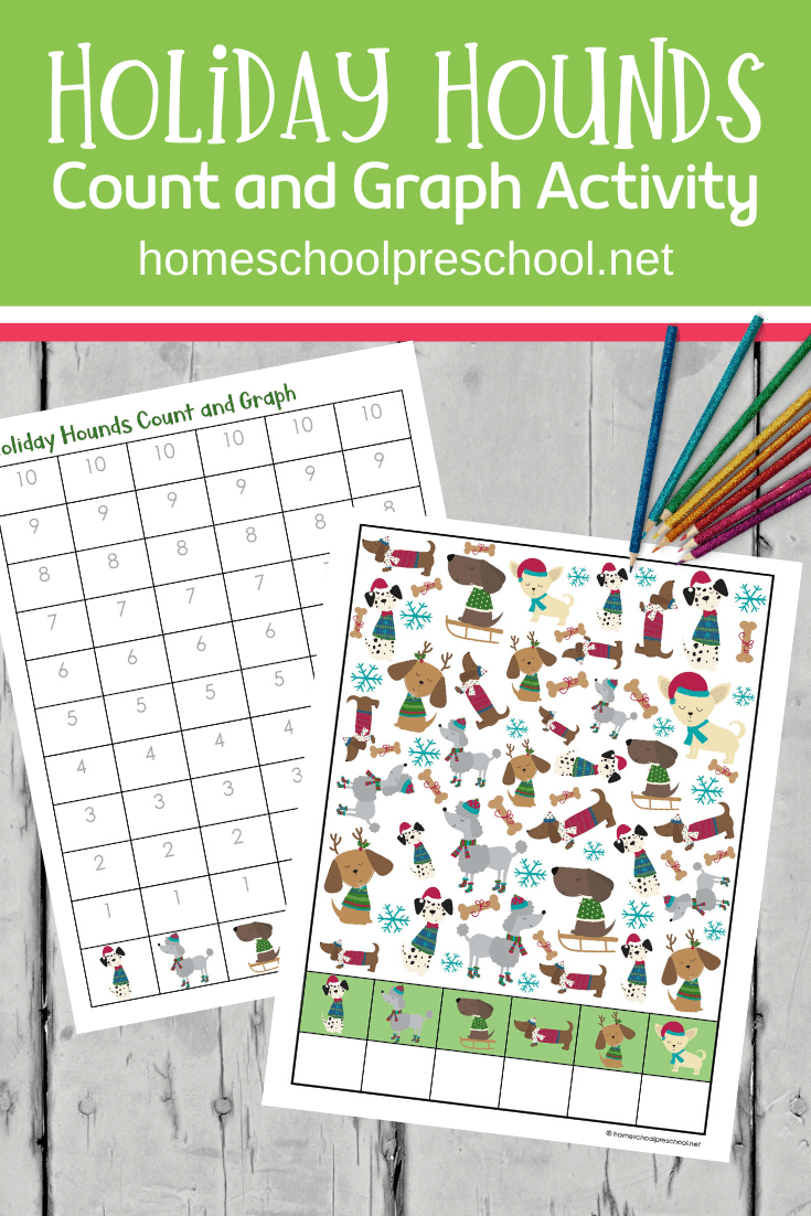 Grab these holiday hounds count and graph printables to add to your holiday math centers. They are perfect for preschool and kindergarten!