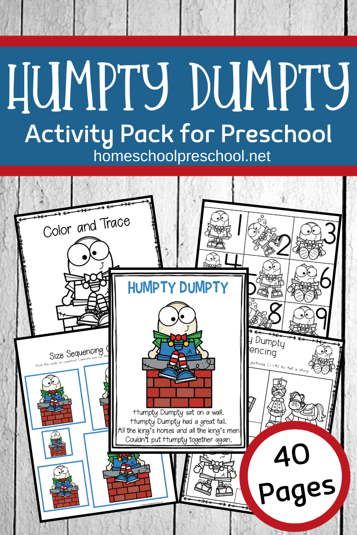 These Humpty Dumpty activities for preschool are designed to be used with children ages 3-7. This unit includes a variety of worksheets and activities.