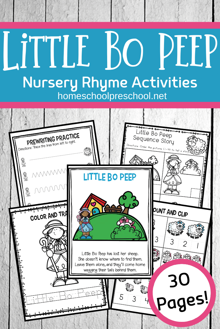 This Little Bo Peep nursery rhyme printable is perfect for kids ages 3-7. This unit includes a variety of math and literacy activities preschoolers will love.