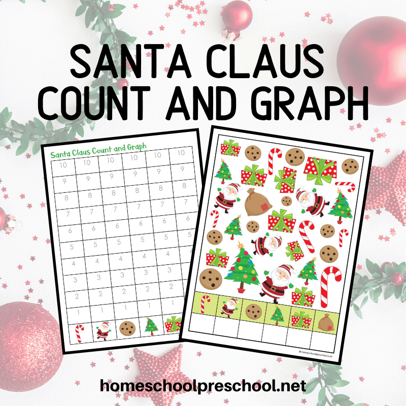 "This no-prep count and graph math pack is print and go making it perfect for busy preschool moms and teachers. It is so simple to use, as well. Perfect for your holiday or winter preschool activities. To complete this activity, show your preschoolers and kindergarteners how to find and count the first image. Count all the spotted dogs with red hats. Write the number in the box under the first column. Continue with the other five images. When your students have finished the find and count portion of this activity, show them how to graph their results. Encourage your student to color one square for each image they found. I like to have them color each column a different color. It helps them ""see"" the differences in each column better. Once the graphing page is complete, ask questions to help your preschoolers compare and analyze the data on the graph. Which dog had the most? Which had the least? How many spotted dogs and poddles are there all together? How man more wiener dogs were there than dogs on sleds?"