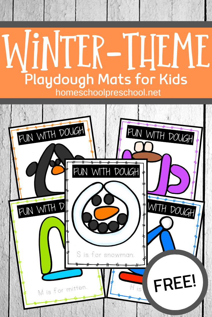These winter playdough mats are a great way to entertain preschoolers while helping them build fine motor muscles in their hands.