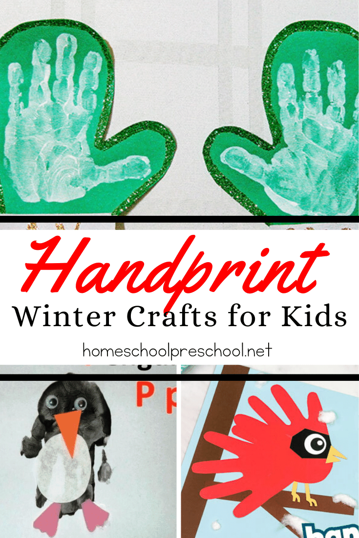 These winter handprint crafts make great keepsakes! From snowmen and cardinals to snowflakes and mittens, they're perfect for tots and preschoolers.