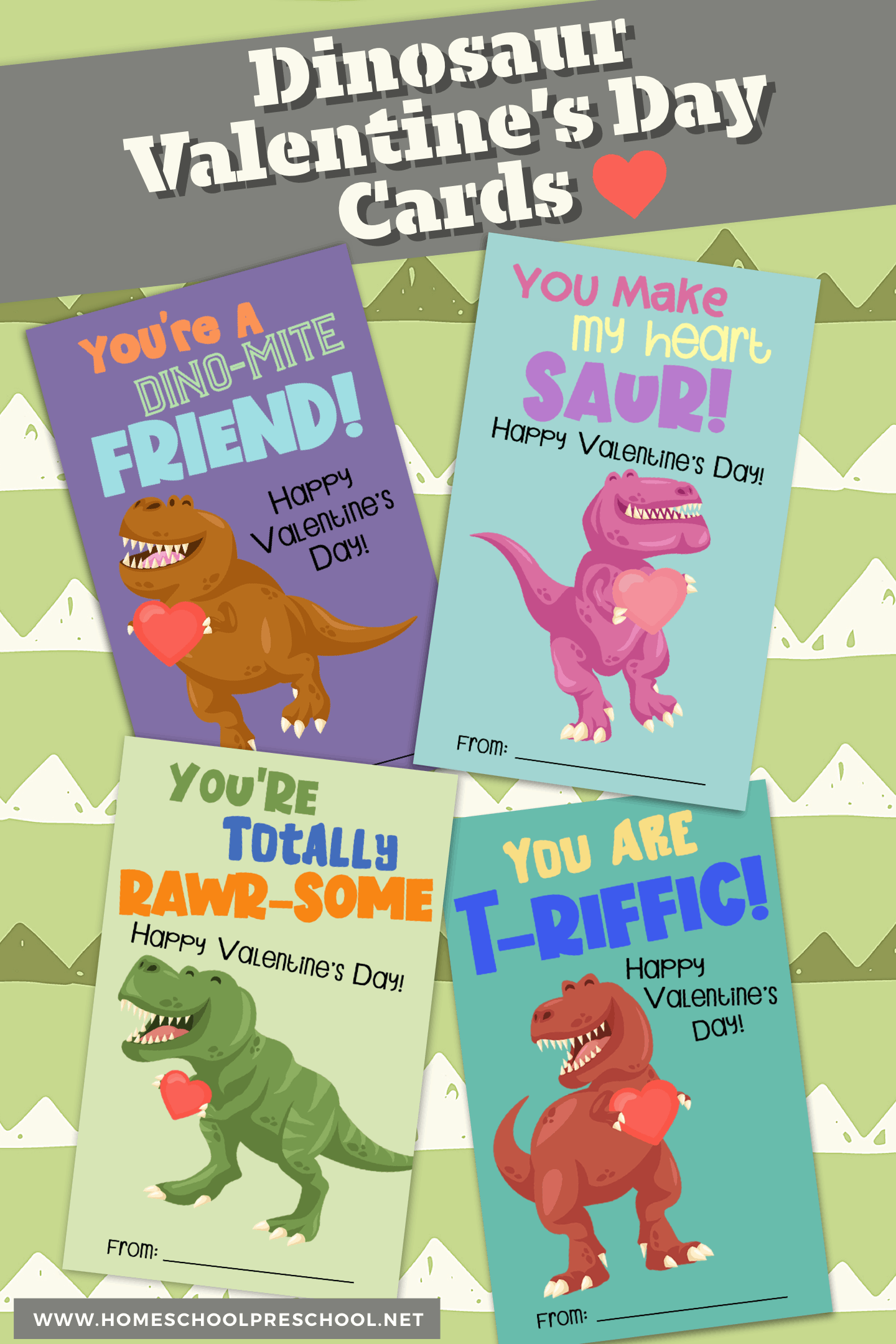 Download these dinosaur printable Valentine cards! These gender neutral cards are perfect for boys and girls to pass out this Valentine's Day.