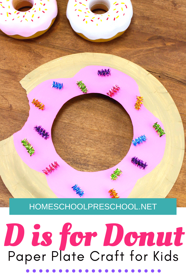 This simple donut paper plate craft for kids is so cute! Add it to your food, letter D, or donut book-based preschool activities.