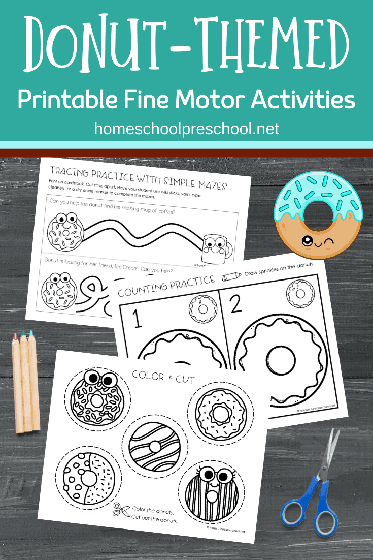 Don't miss these donut fine motor activities which include tracing practice, drawing, counting, and scissor practice with a fun donut theme!