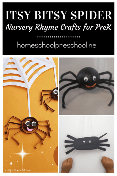 Add one or more of these Itsy Bitsy Spider crafts for preschoolers to your upcoming nursery rhyme activities! They're also great for your spider unit study.