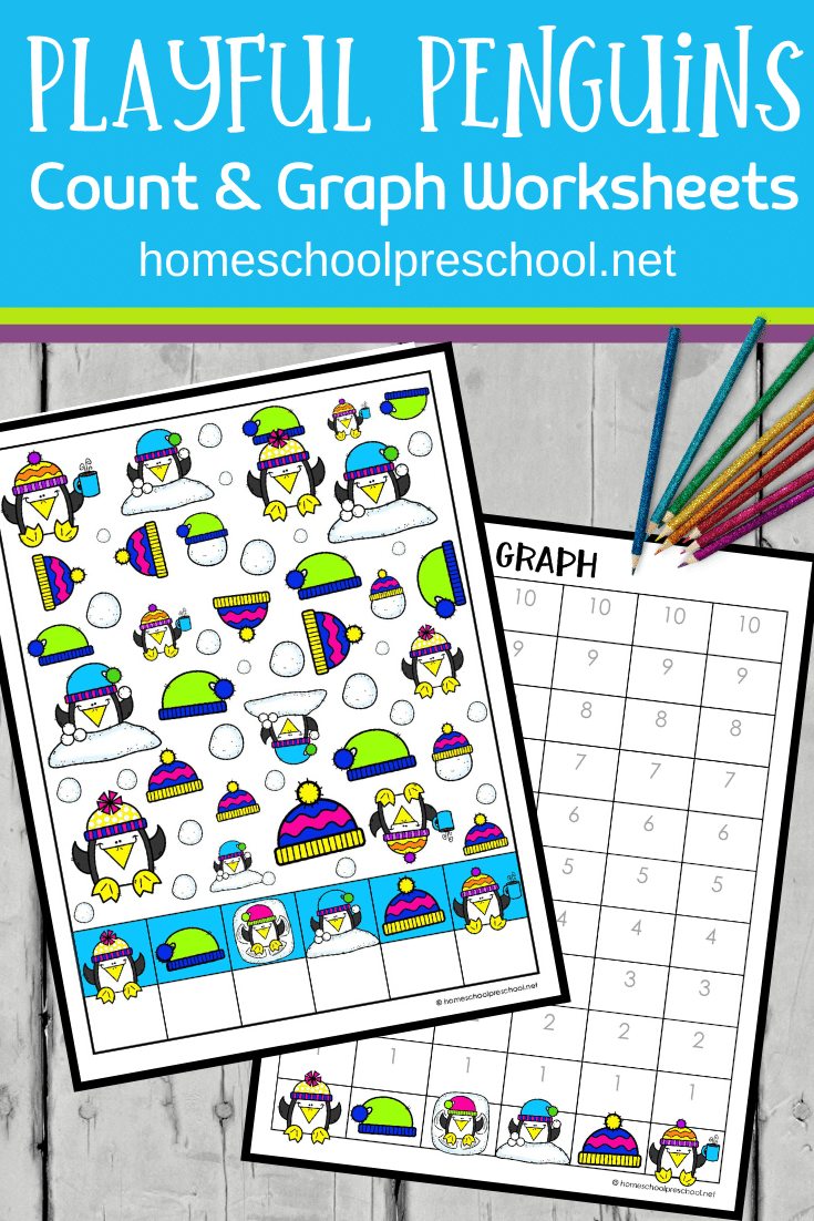 Don't miss these penguin count and graph worksheets! They are perfect for helping preschoolers practice counting and graphing to ten.
