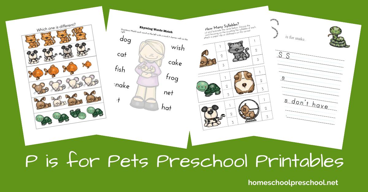Free Printable Pet Activities For Preschool And Kindergarten
