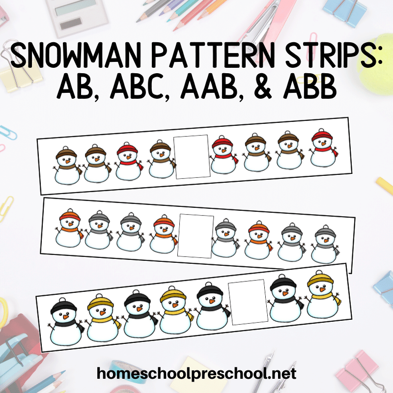 Snowman pattern printables are a great way for preschool and kindergarten kids to work on AB, ABC, AAB, and ABB patterns this winter.