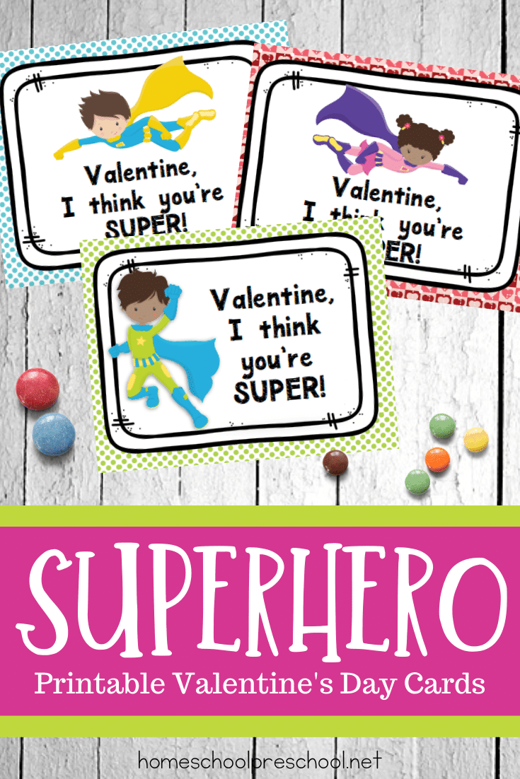 These cute superhero Valentines Day cards are free! Your preschoolers will love passing them out at their class parties or play dates.