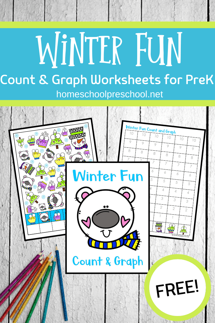 Download these Winter Fun count and graph worksheets to add to your seasonal math centers. They are perfect for preschool and kindergarten!