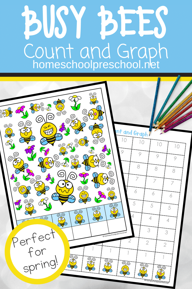 This busy bees count and graph activity is a great way to practice counting and graphing skills during the spring and summer.
