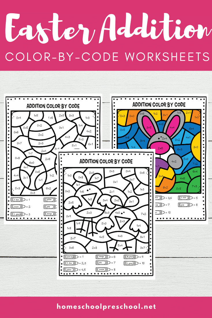 As spring rolls around, don't miss these Easter addition worksheets for kindergarten! Practice addition facts and use the color code to finish each picture!
