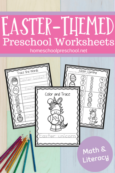 Practice early math and literacy skills with these fun Easter worksheets for preschool. They're perfect for your spring preschool lessons!