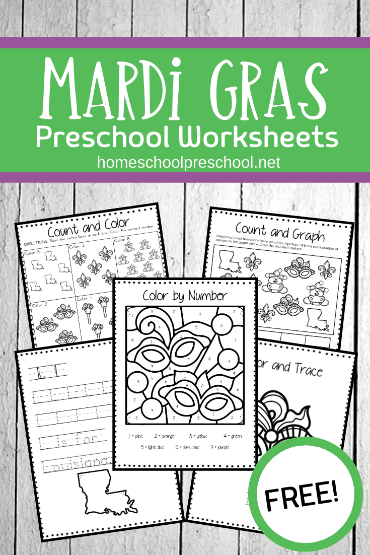 Mardi Gras is just around the corner on 2/25! Engage your preschoolers with these Mardi Gras worksheets for kids ages 3-7.