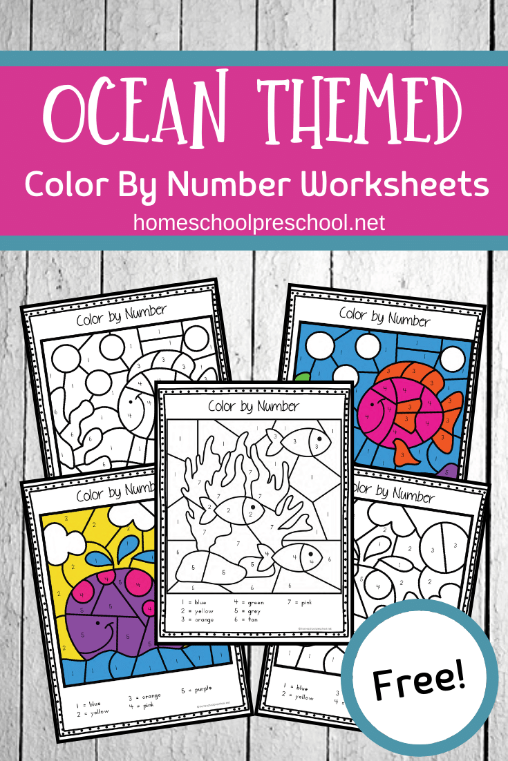 These color by number ocean animals are great for practicing number recognition and color words as well as building fine motor muscles.
