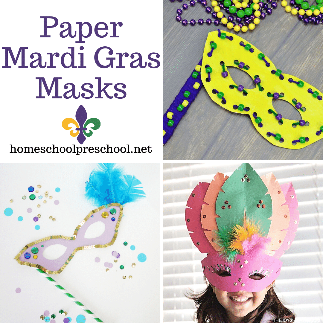 In need of a last-minute mask to make for Mardi Gras? These paper Mardi Gras masks are perfect for all your preschool holiday fun!