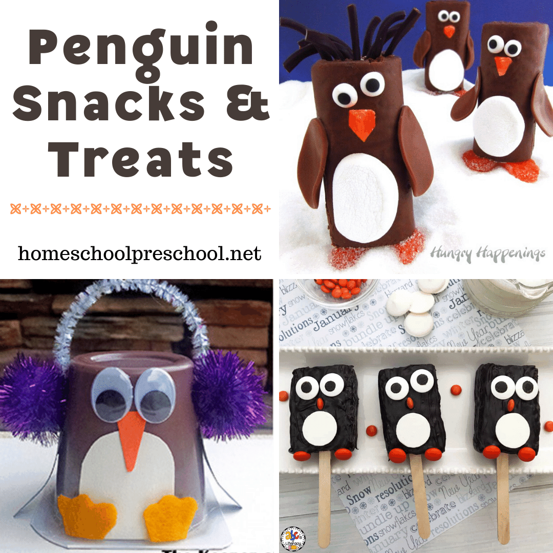 Add one or more of these penguin snacks for preschoolers to your winter activities. Each one is perfect for National Penguin Day or any day!