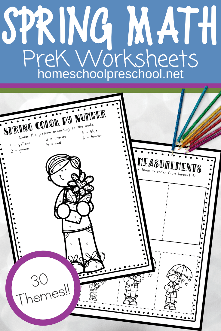 This set of spring math worksheets is a great way to engage preschoolers. Don't miss these print-and-go spring math activities!