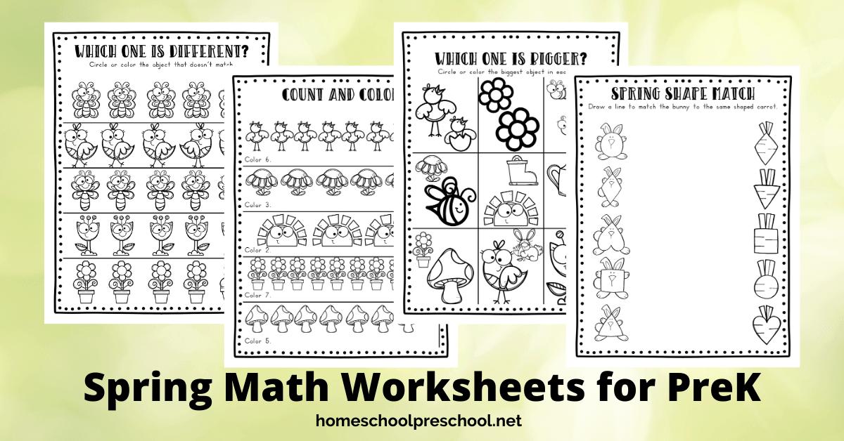 Spring Math Worksheets - Homeschool Preschool