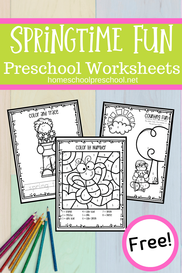 As you begin planning your spring activities, be sure to add some fun spring worksheets for preschool skills like numbers, shapes, and beginning sounds.