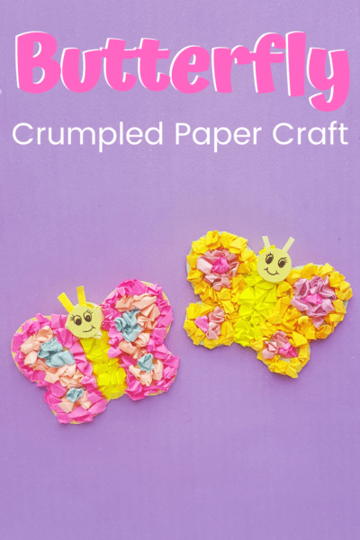 This adorable tissue paper preschool butterfly craft is not only pretty enough to put on display, but it's a great way to build motor skills.