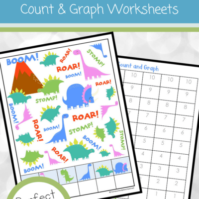 Dinosaur Count and Graph Worksheets