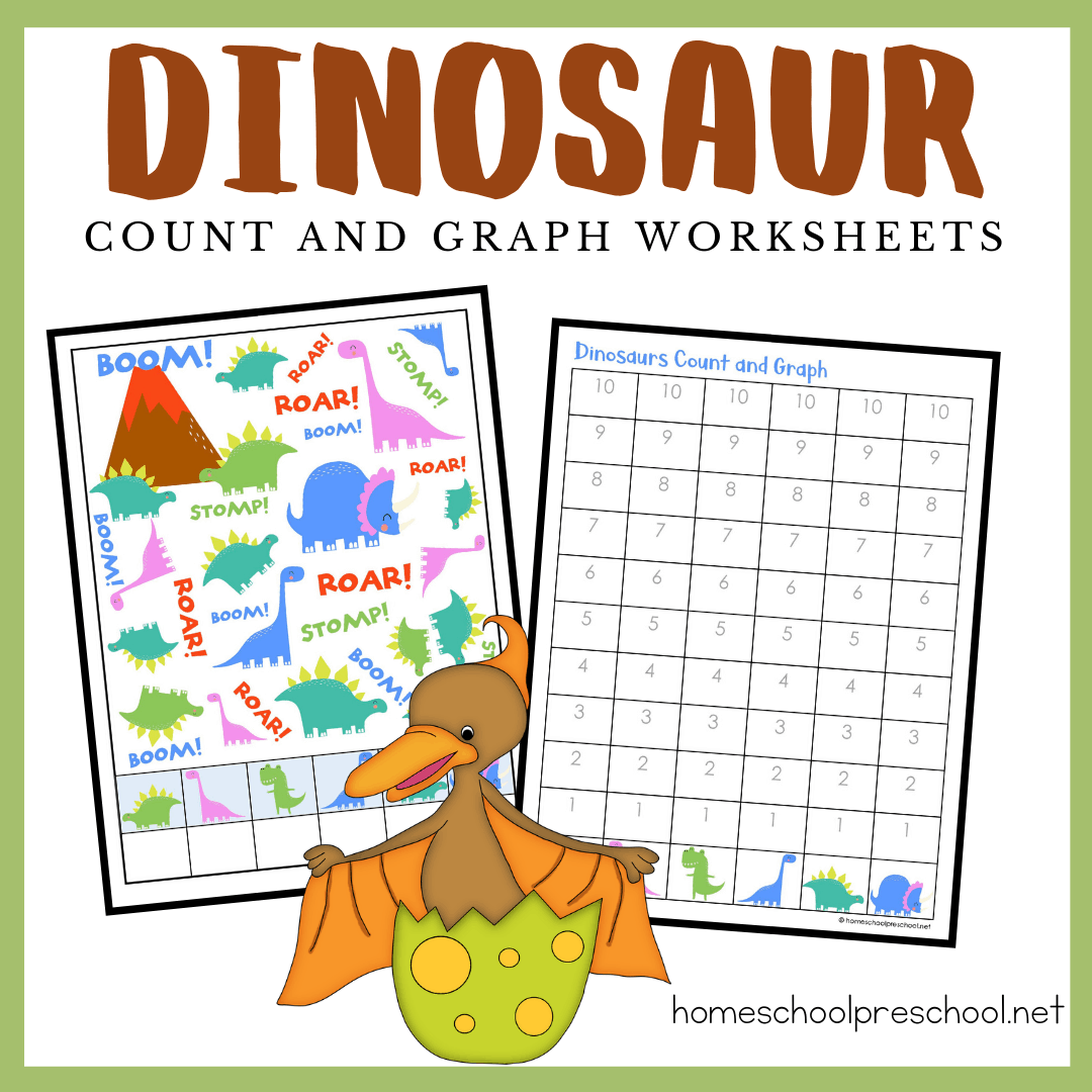 This dinosaur count and graph activity is a great way for preschoolers to practice counting and graphing skills any time of the year.