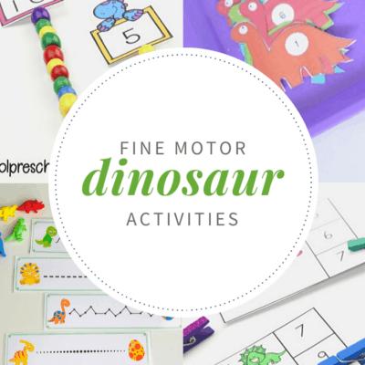 Dinosaur Fine Motor Activities for Preschoolers
