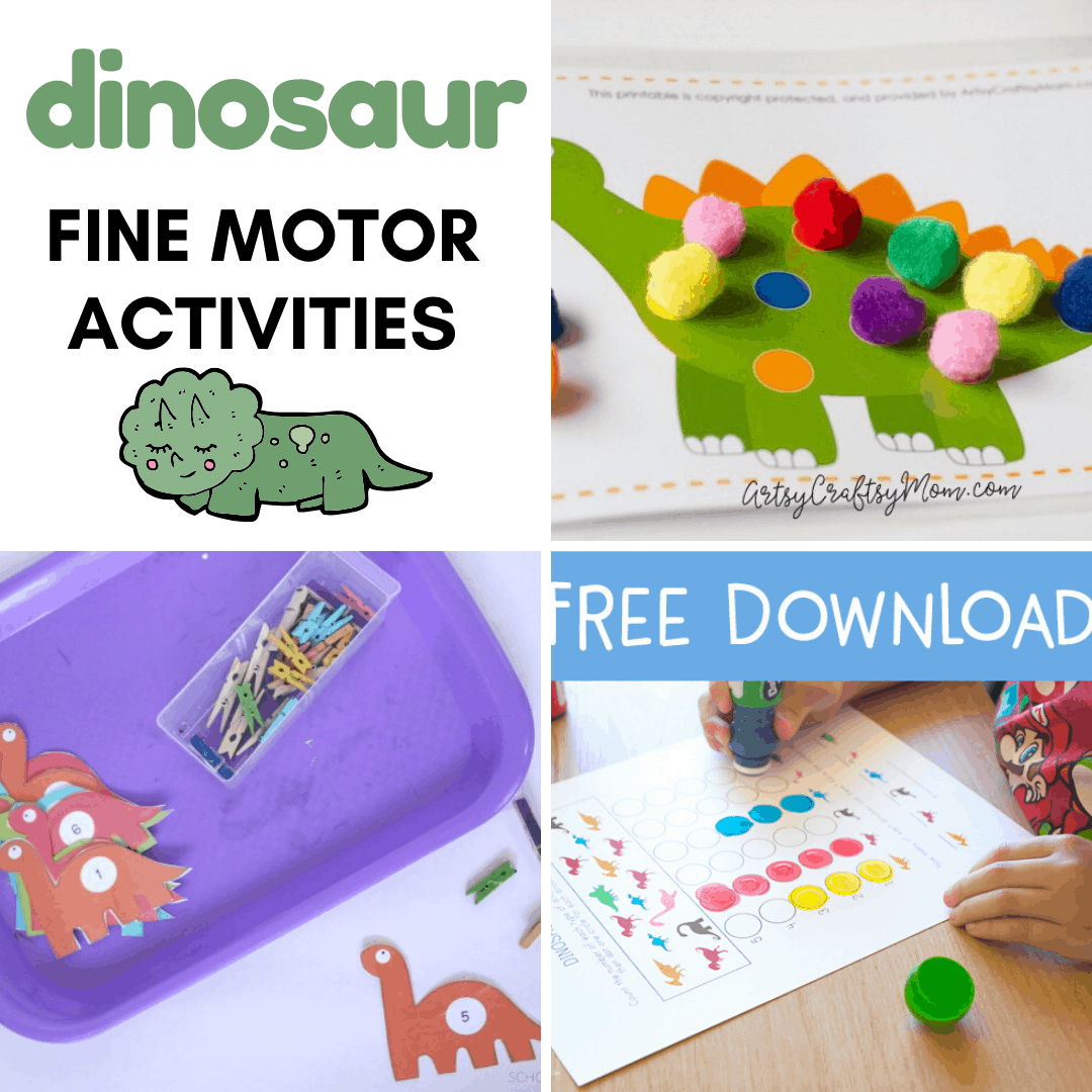 Pinching, cutting, and tracing are all great motor skills activities. Discover more in this collection of dinosaur fine motor activities for preschoolers!