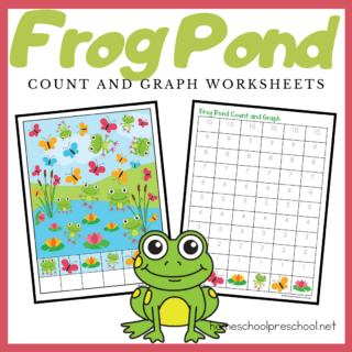 This frog-themed count and graph activity is a great way for preschoolers to practice counting to ten and graphing their results during your spring and summer lessons.
