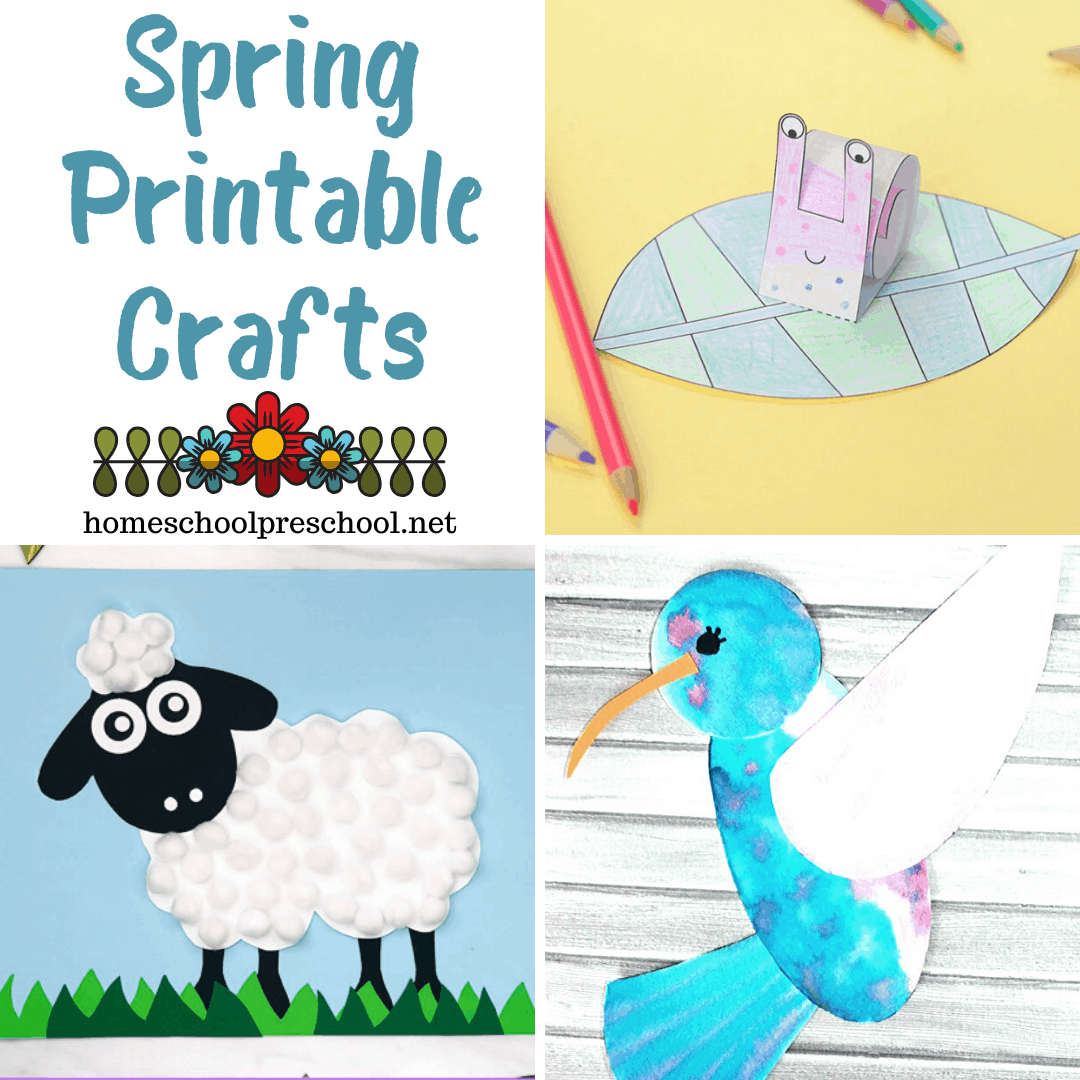 Explore this awesome collection of printable spring crafts for kids that includes easy projects featuring flowers, butterflies, birds, and more!