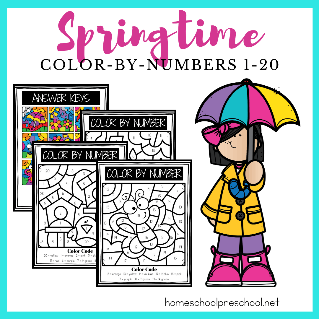 These spring color by number printables are great for having preschoolers practice color words and number recognition from one to twenty.