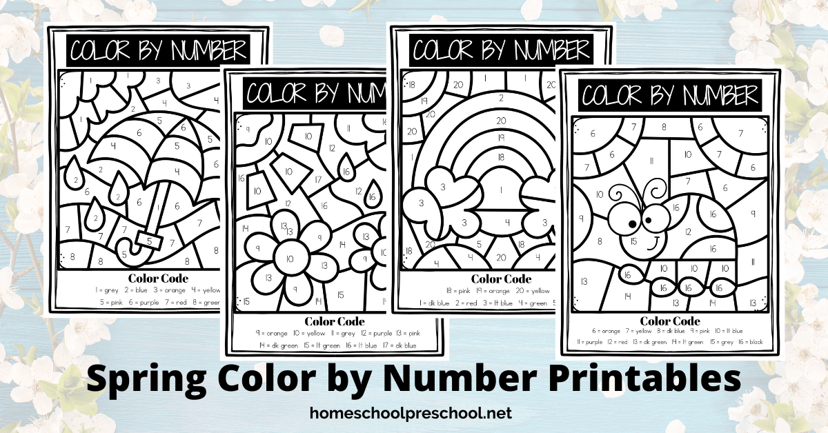 Free Spring Color By Number Printables For Preschoolers
