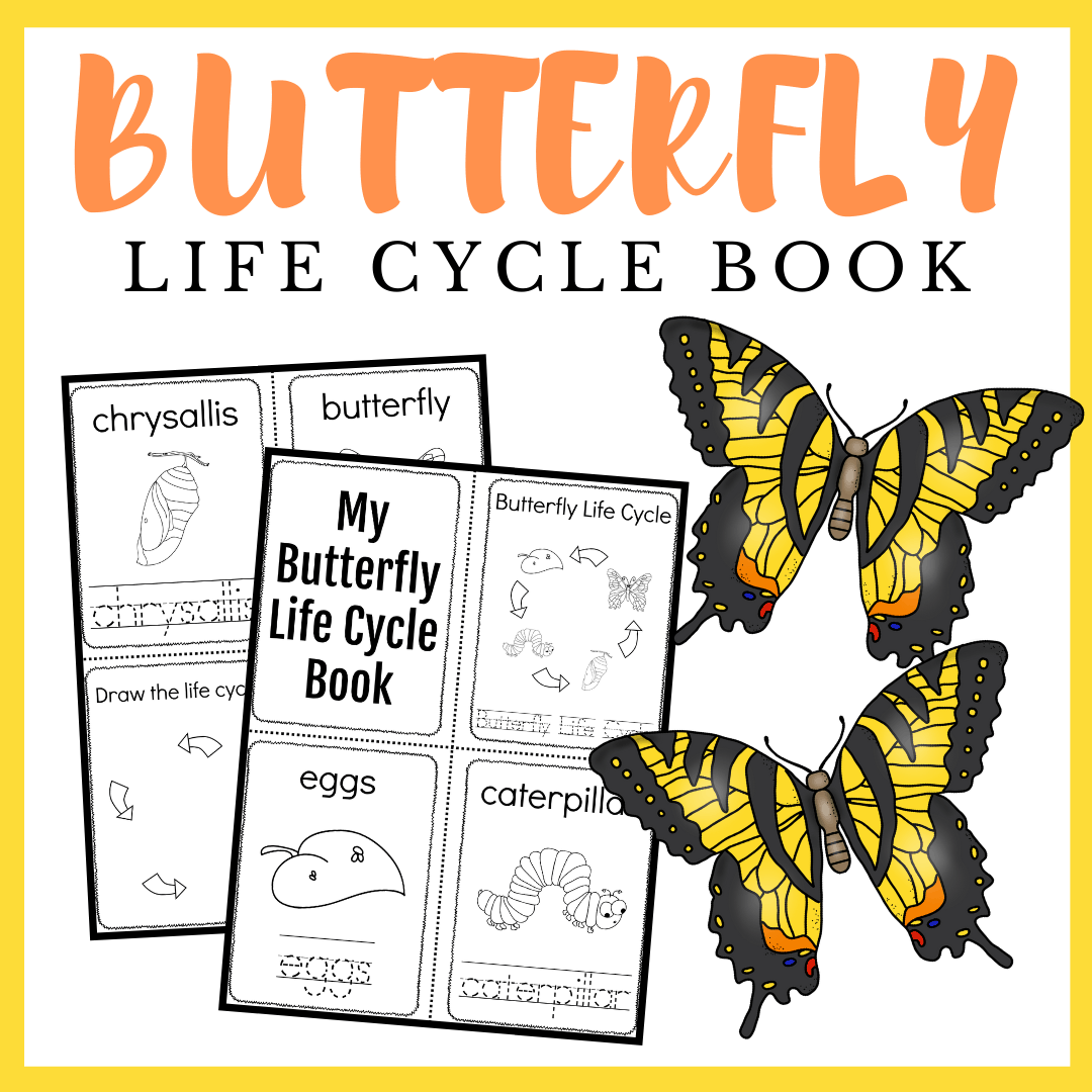 Here's a simple butterfly life cycle printable book for preschoolers. Teach them the four stages of a butterfly's life this spring.