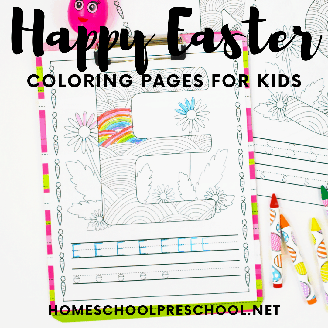 Kids will love completing these free Easter coloring pages for preschoolers! Then, they can be strung together to make an Easter banner.
