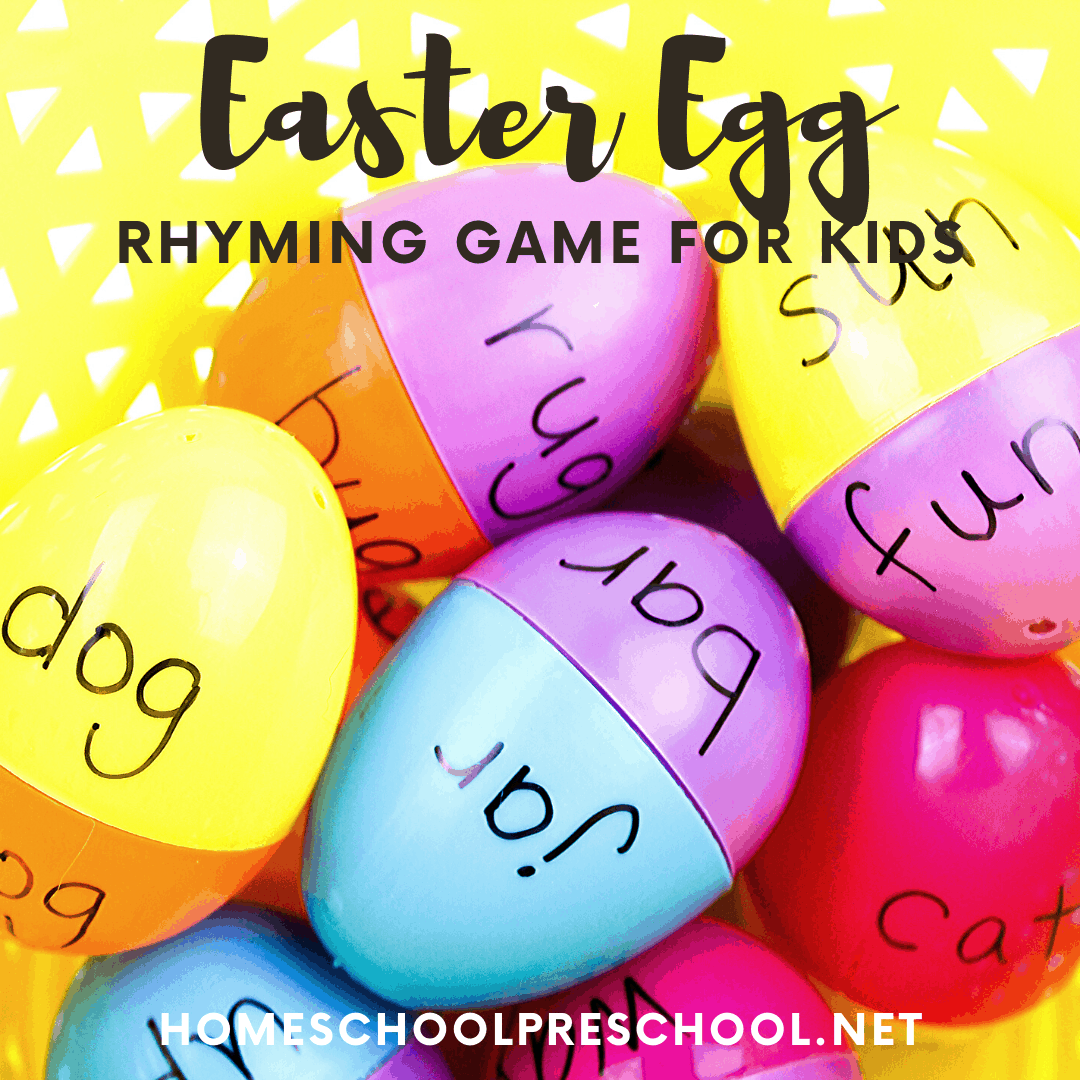 Save your plastic Easter eggs to create this Easter egg rhyming words game for preschool and kindergarten kiddos. Hands-on learning for the holidays!