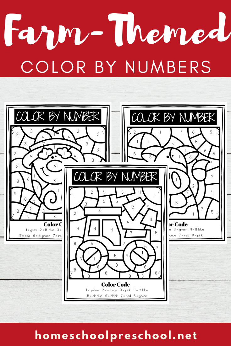 Preschoolers will practice number recognition while strengthening fine motor skills with this set of farm color by numbers preschool worksheets.