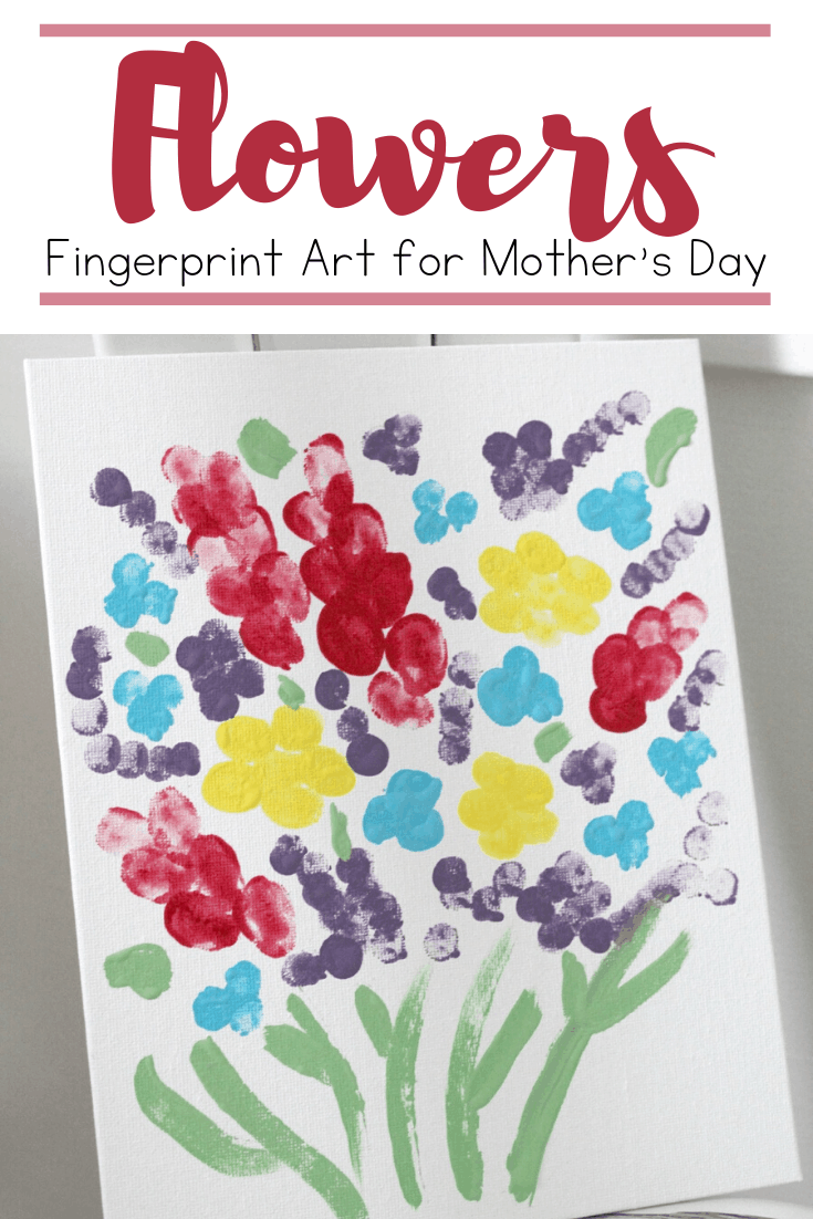 Fingerprint flower art is perfect for spring and summer. This adorable canvas is the perfect Mother's Day craft for preschoolers to make!