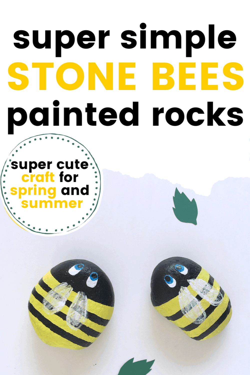 This spring, let your kids create this fun painted rocks Easy Bee Craft! There are so many ways you can use them in your preschool lessons!