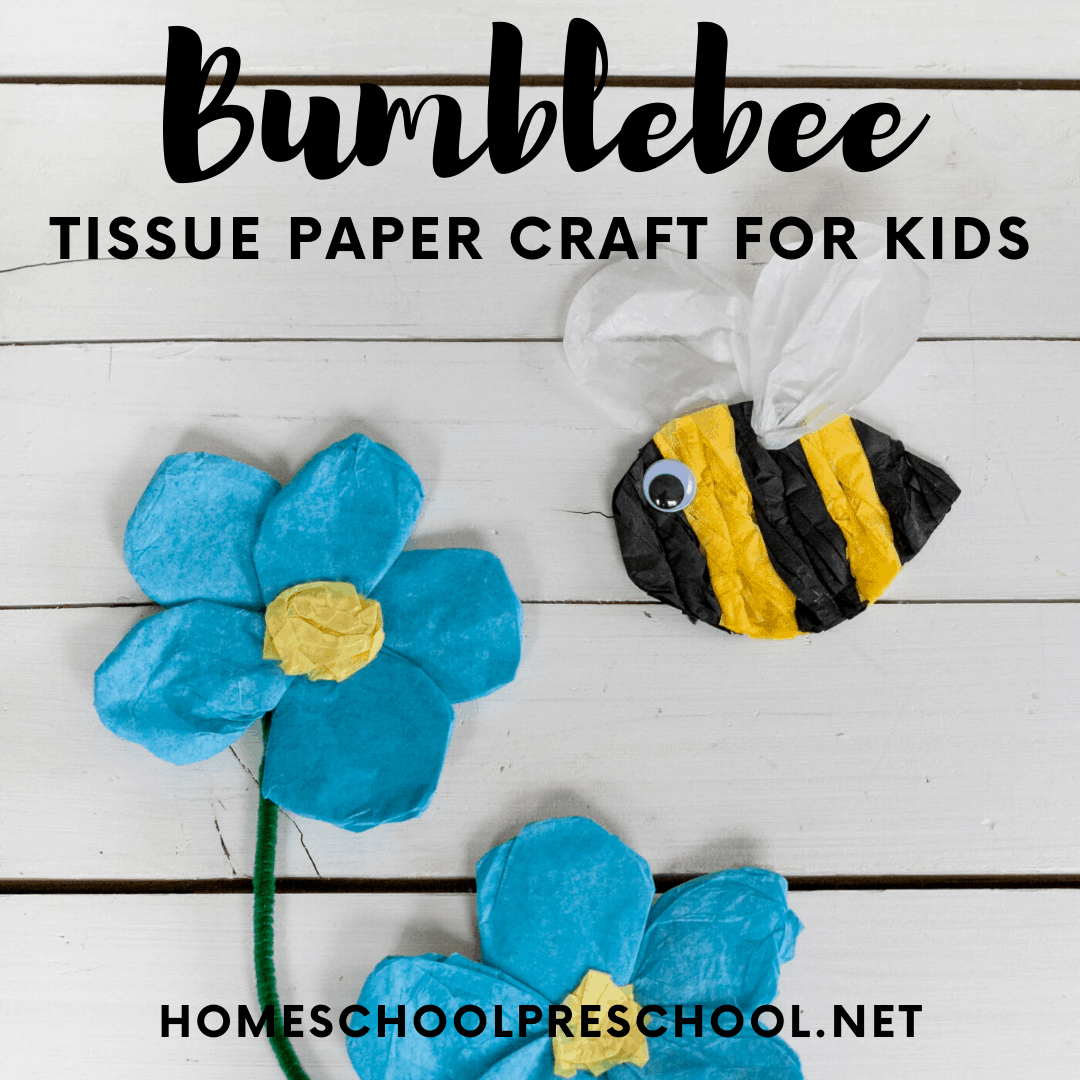 These tissue paper bees are so cute, and they're great for helping preschoolers polish fine motor skills. Add them to your spring and summer craft list.