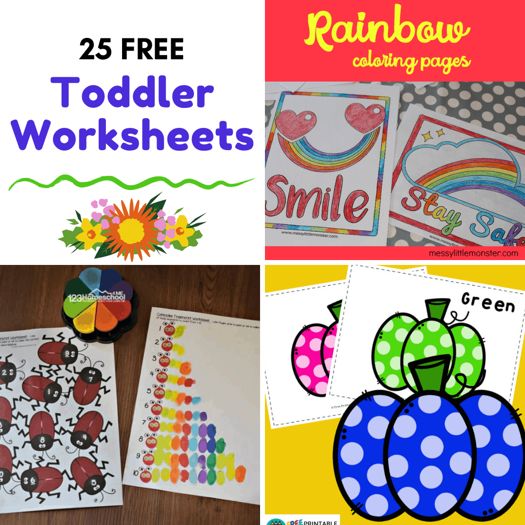This collection of free printable toddler worksheets offers kids ages 2-3 an opportunity to work on letters, numbers, shapes, and colors.