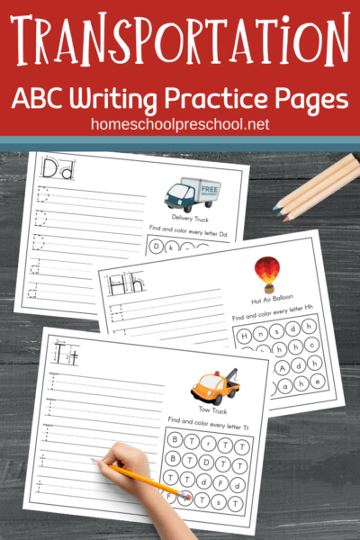 Preschool and kindergarten kiddos will love these transportation ABC letter practice pages! Zoom on over and download your copy today!