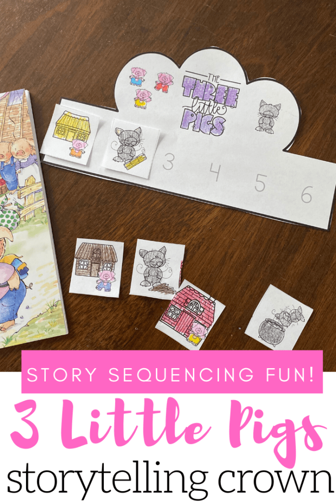 When your kids make a Three Little Pigs sequencing crown, they'll put events from the story in order as they make a paper crown they can wear.