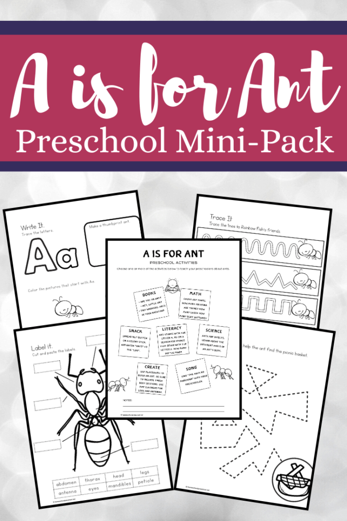 Summer time brings picnics, and picnics bring ants. Teach your little ones about ants with this mini pack of A is for Ant preschool printables.