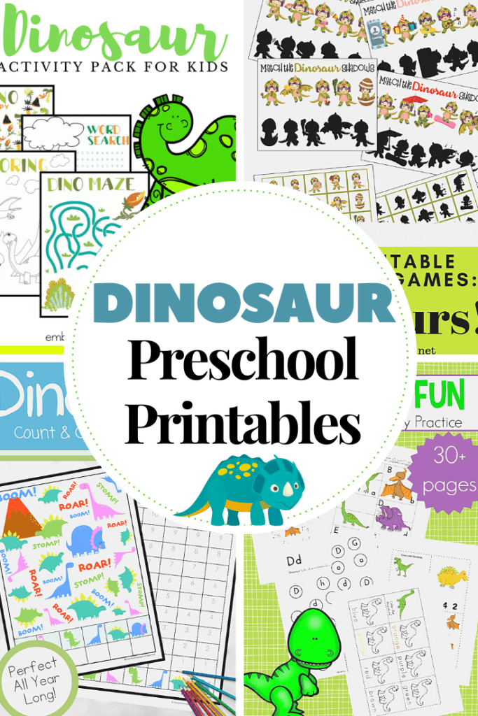 This dino-mite collection of dinosaur printables for preschoolers helps engage young learners as they learn basic math and literacy skills.