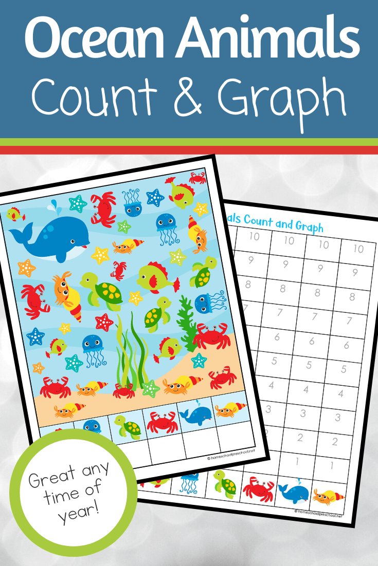 This ocean animals count and graph activity pack is a great way for preschoolers to practice counting and graphing skills this summer!