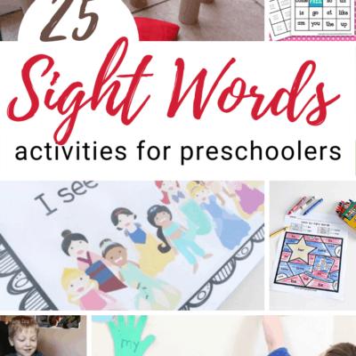 Preschool Sight Words Activities