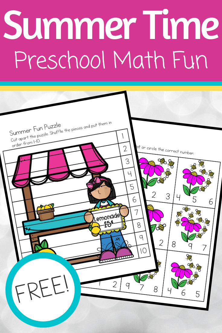 Download and print these summer math activities for preschoolers. This is a great way to help little ones focus on the numbers 1-10.