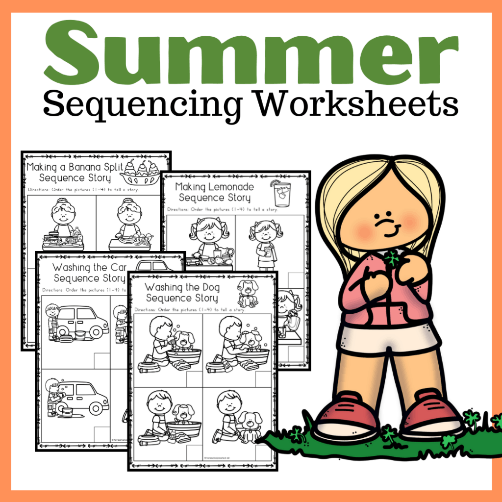Free sequencing worksheets that are perfect for summer! Young learners will sequence and retell four-part summer stories.
